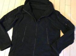画像1: フード付きタクティカルフリースジャケット日本人XL ブラック